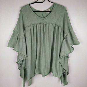Umgee Green Oversized Flowy Top